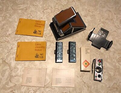 Polaroid SX-70 Vintage Instant Film Camera With Accessories & Flash Bar