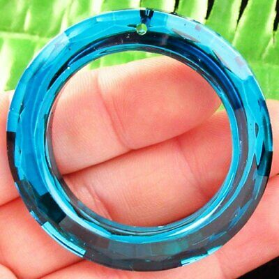 50mm Facted Blue Titanium crystal Agate Circle Pendant Bead L06510