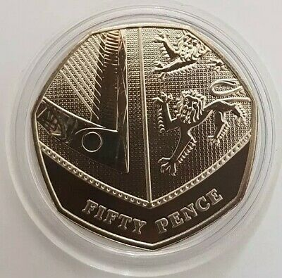 2018 Royal Mint Segment of Shield Fifty Pence 50p coin Brilliant Uncirculated BU