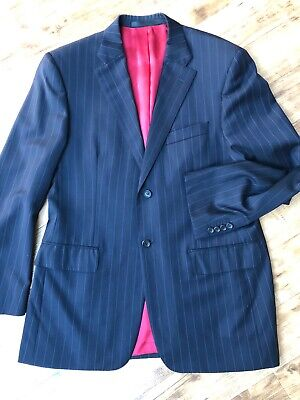 Marks Spencer Luxury Pure Wool Navy Pinstripe Jacket Chest 40 Med - Perfect