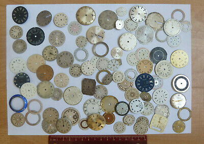 Job Lot Of Mixed Old Antique Vintage Enamel Dial Face Plate For Watchmakers (26)