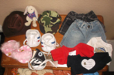 Lot of BABW (Build-A-Bear) Accessories: shoes, cloths, hats, bunny