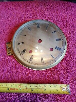 English Mantle Clock Solid Brass Face Bezel And Convex Glass