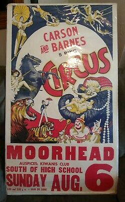 Mid-century CIRCUS Poster Small-town MN 5-ring CARSON /& BARNES Big Top ~ 22 x 14
