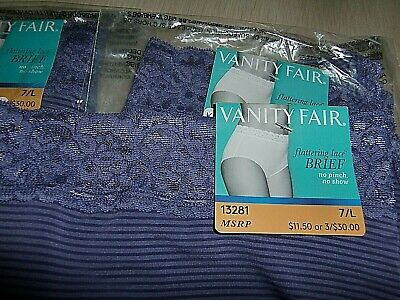 NWT 3 Vanity Fair Flattering Lace Brief 13281 Women 7 L Large no pinch/no show