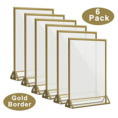 CRUODA 5 x 7 Acrylic Sign Holder, Double Sided Wedding Table Numbers Holder for