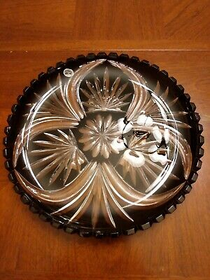 """Black Cut to Clear Crystal 11"""" Diameter x 1"""" Height Platter Made in Hungary"""