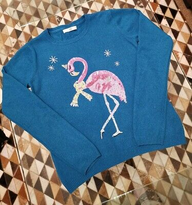 Marks and Spencer Girls Sequin Pink Flamingo Jumper 13-14 Years