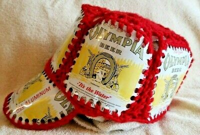 Vintage 1970's Olympia Beer Can Red Knitted Oly Hat Baseball Cap