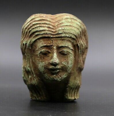 RARE EGYPT EGYPTIAN ANTIQUES Faience Head PHARAOH QUEEN Mask Statue 4200 BC