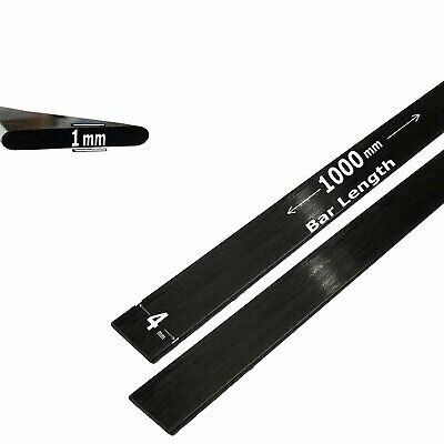 (4) 1mm x 4mm 1000mm - PULTRUDED-Flat Carbon Fiber Bar. 100% Pultruded high...