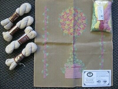 Topiary Tree Floral Aust DMC Wool Hanks Needlepoint Trammed Tapestry Canvas Kit