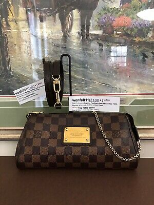 ❤️ Eva❤️100% Auth❤Louis Vuitton❤Damier Ebene❤Cross-body Shoulder Clutch