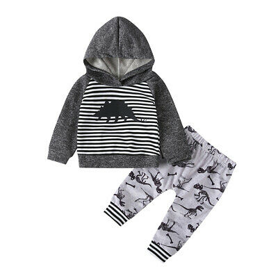 Newborn Infant Kids Baby Boys Girls Striped Dinosaur Hoodie Tops+Pants Outfits
