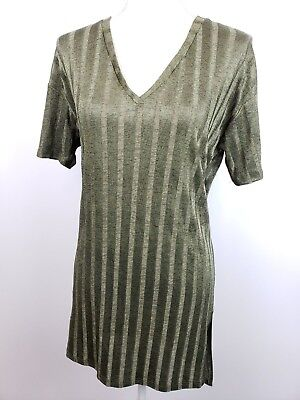 Zara S Dress Green See Through Striped Loose Fit