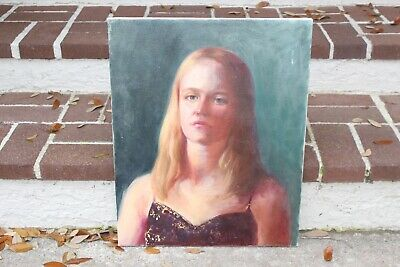 Oil Painting Original Portrait Young Lady Woman Depression Sad on Canvas Blonde
