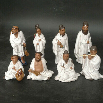 China Temple Porcelain Eight Immortals PaHsien Eight Celestial being Statue Set