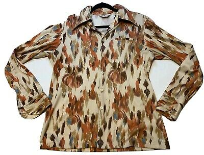 Vintage Maxi & Me Of California Size Med 1970s Disco Fall Color Party Shirt Rare