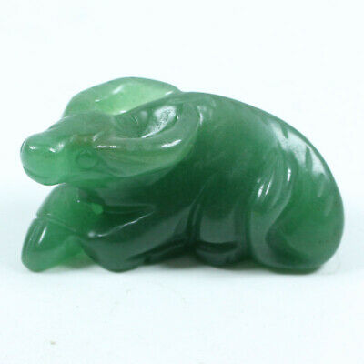 Certified Grade Natural Green Hand-carved Dongling Jade Pendant Cow z323
