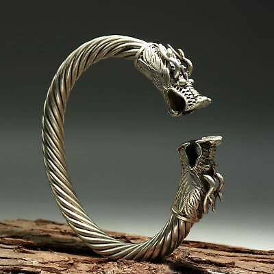 Collect China Old Miao Silver Hand-Carved Myth Dragon Moral Bring Luck Bracelet