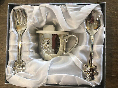 Silver Baby Teddy Bear Cup Fork Spoon Gift Set