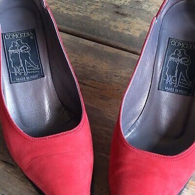 Vintage Red Suede Italian Pump Size 36