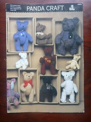 Panda Craft - Knitted Teddy Bear Pattern - Variety Sizes