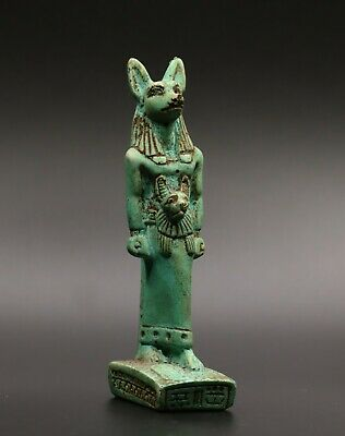 RARE ANCIENT EGYPTIAN ANUBIS EGYPT ANTIQUES DOG STATUE CARVED Green STONE BC