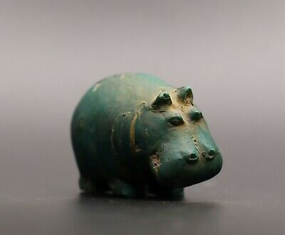 Ancient Egypt Statue Hippopotamus Antiques Hippo In Green Egyptian Animals Bc