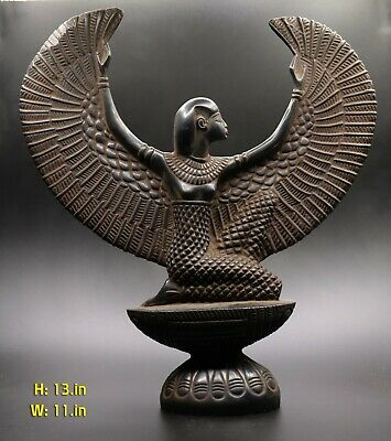 Ancient Egyptian Antiques Isis Winged Goddess Egypt Stone Black Bc