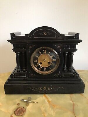19th Century Black French Marble Mantle Clock With Architectural Merits