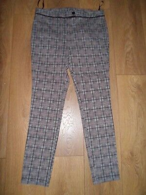 Dorothy Perkins Black Brown Checked Narrow Leg Trousers With Stretch Size 12