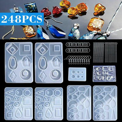 Silicone Earring Pendant Mold Jewelry Resin Mould Kit Set Casting Craft EA