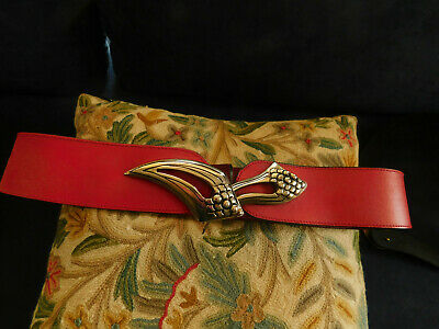 Ladies red leather Made in Italy belt metal buckle sz L