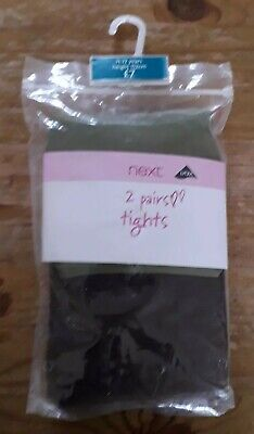 Next Age 11-12 Girls Tights 2 Pairs Green - Brown