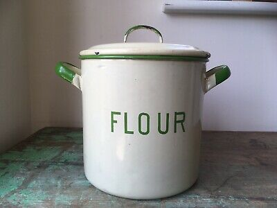 c1930s Antique Green & Cream Enamel Tin Flour Bin.  Storage Jar Biscuit Barrel
