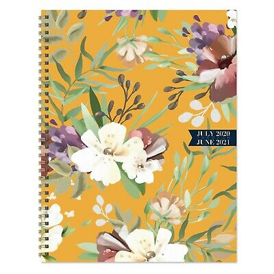 July 2020 - June 2021 Golden Flowers Large Daily Weekly Monthly Spiral Planner