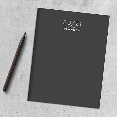 July 2020 - June 2021 Charcoal Medium Monthly Planner