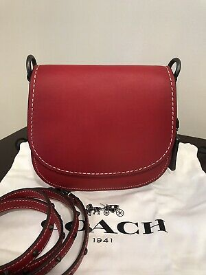 Coach 1941 Red Western Rivets Strap Saddle 17 Leather Crossbody Bag
