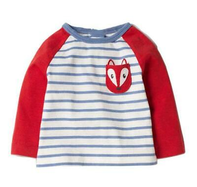 Blue White Stripe cute Fox animal top childrens Boys/Girls unisex Age 6 Years