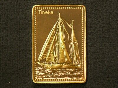 Tineke of Holland Tall Ship Gold Plated Stamp Silver 99.9%  #4498