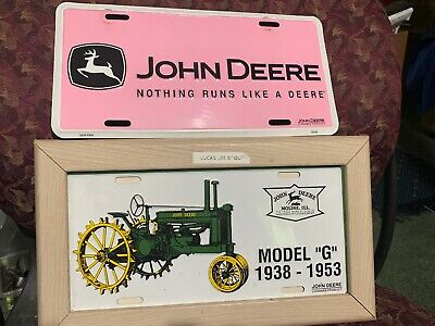 "2-John Deere License Plates 1/Collector Metal  Model ""G"" Tractors FRAMED #2 Pink"