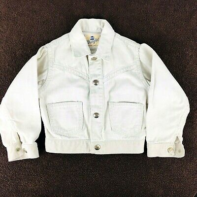 Vintage Wrangler Blue Bell Jean Jacket Sanforized White Denim Child Kids Size 5