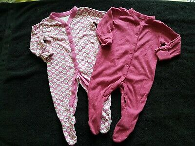 Mothercare Girls Pink Floral / Spotty Babygrows Sleepsuits Age 3-6 Months