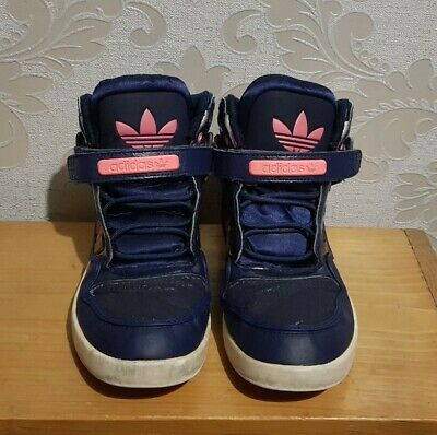ADIDAS Hi Top Trainers Navy Pink Size 5.5 Girls womens trainers