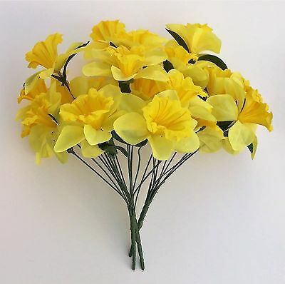 Artificial Silk Flowers 3 - Bunches of Yellow Daffodils Grave Easter Craft