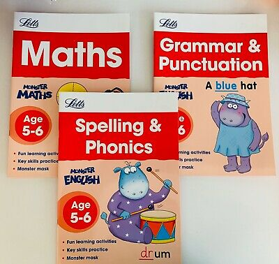 Letts Make it Easy Age 5-6 Maths Grammar Phonics Spellings- Activities NEW Cheap