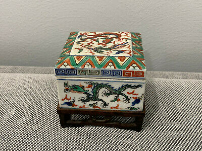 Antique Chinese Wanli Mark Wucai Porcelain Square Box w/ Dragons & Phoenix Dec.