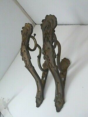 Solid Brass Cast Vintage Curtain Rod Holders from Paris,Deco Roman~Rococo