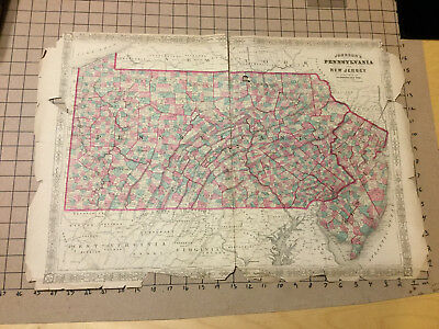 "Vintage early map -- 26 x 17"" Johnson's PENNSYLVANIA & NEW JERSEY -1800's"